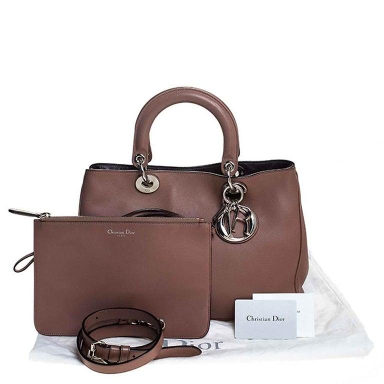 Dior Old Rose Leather Medium Diorissimo Shopper Tote For Sale 7