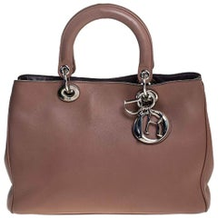 Dior Old Rose Leather Medium Diorissimo Shopper Tote