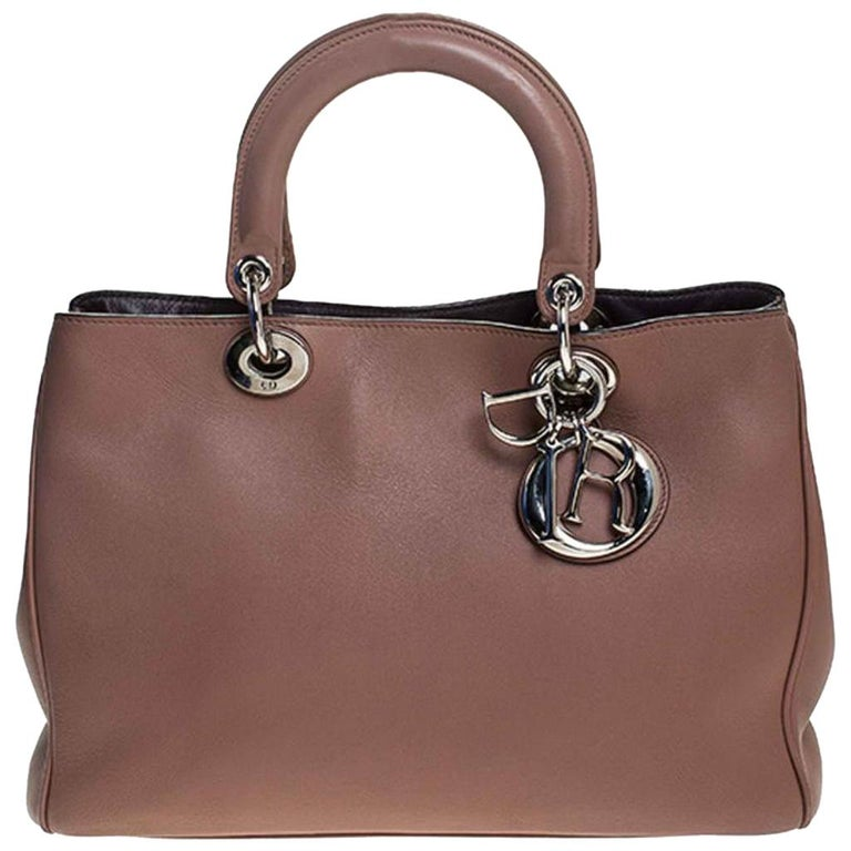 Dior Old Rose Leather Medium Diorissimo Shopper Tote For Sale