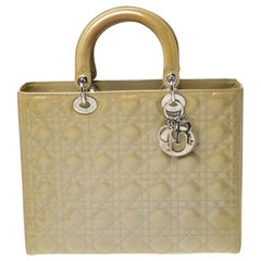 Dior Olive Green Patent Leather Large Lady Dior Tote