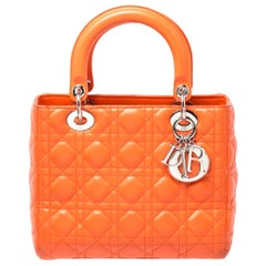 Dior Orange Cannage Quilted Leather Medium Lady Dior Tote