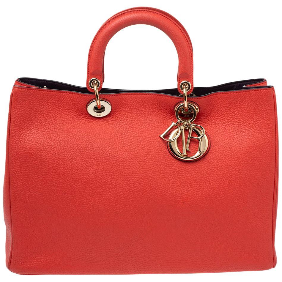 Dior Orange Grained Leather Large Diorissimo Shopper Tote