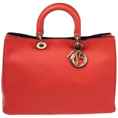Dior Orange Grained Leather Large Diorissimo Shopper Tote