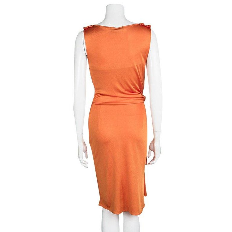 Draped Cowl Neck Dress: Dior Orange Knit Draped Sleeveless Cowl Neck Dress M For