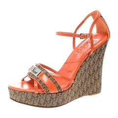 Dior Orange Leather and Diorissimo Canvas Wedge Sandals Size 36.5