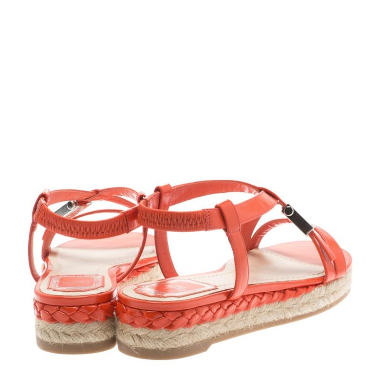 fdbe7c600c3 Dior Orange Leather Cross Strap Espadrille Flat Sandals Size 38
