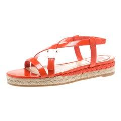 Dior Orange Leather Cross Strap Espadrille Flat Sandals Size 38