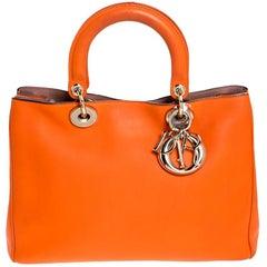 Dior Orange Leather Medium Diorissimo Shopper Tote