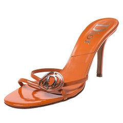 Dior Orange Patent Leather Logo Detail Strappy Sandals Size 39.5