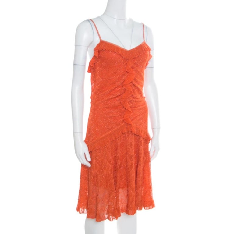 Dior Orange Perforated Lurex Knit Ruffled Sleeveless Dress L In Excellent Condition For Sale In Dubai, Al Qouz 2