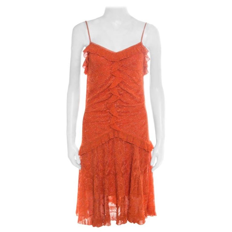 Dior Orange Perforated Lurex Knit Ruffled Sleeveless Dress L For Sale
