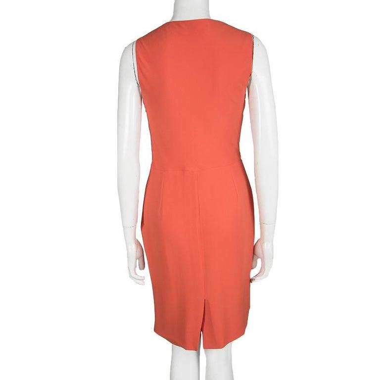 Red Dior Orange Silk Cowl Neck Sleeveless Dress M For Sale