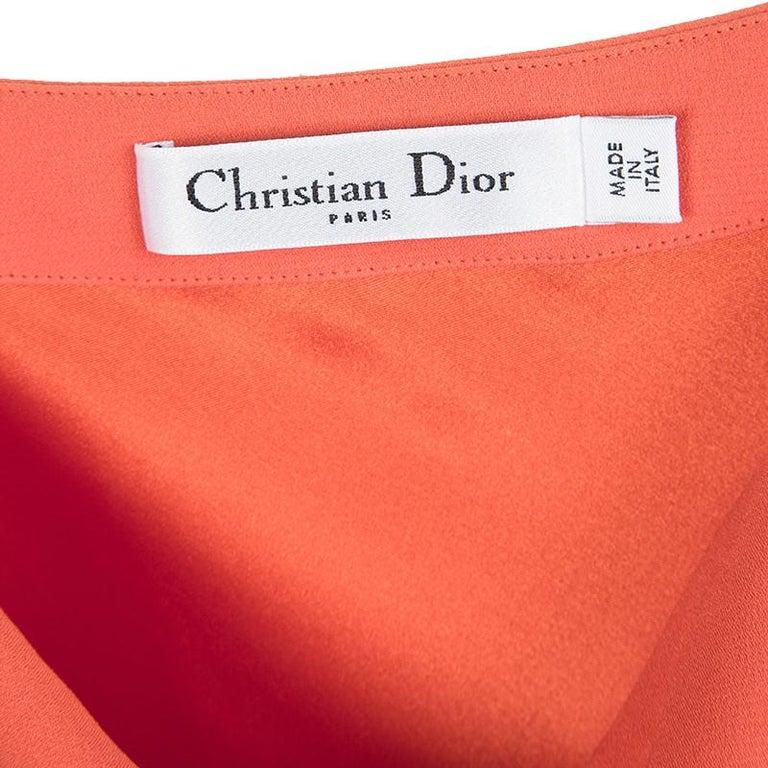 Women's Dior Orange Silk Cowl Neck Sleeveless Dress M For Sale
