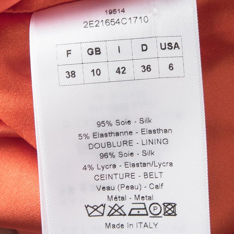 Dior Orange Silk Cowl Neck Sleeveless Dress M For Sale 1
