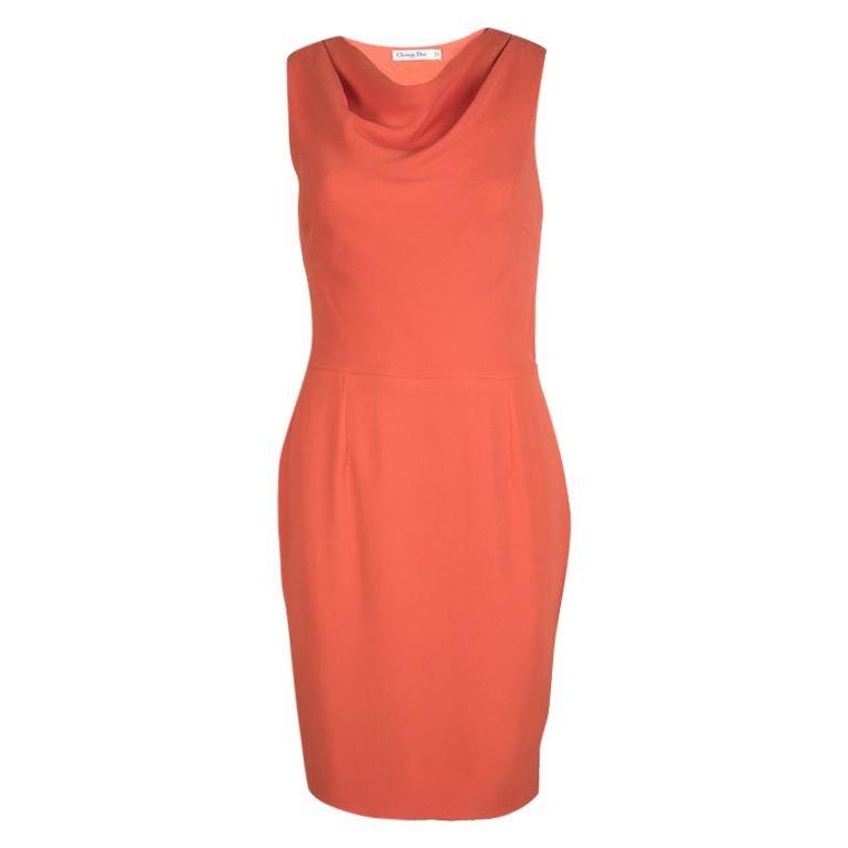 Dior Orange Silk Cowl Neck Sleeveless Dress M For Sale