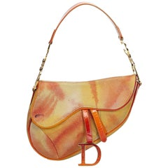 Dior Orange Tie Dye Embossed Suede Saddle Bag