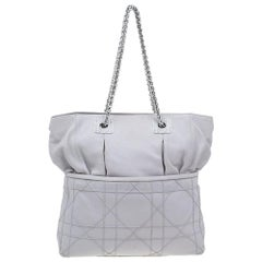 Dior Pale Grey Cannage Quilted Leather So Dior Tote Bag
