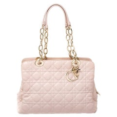 Dior Pale Pink Cannage Leather Soft Lady Dior Tote