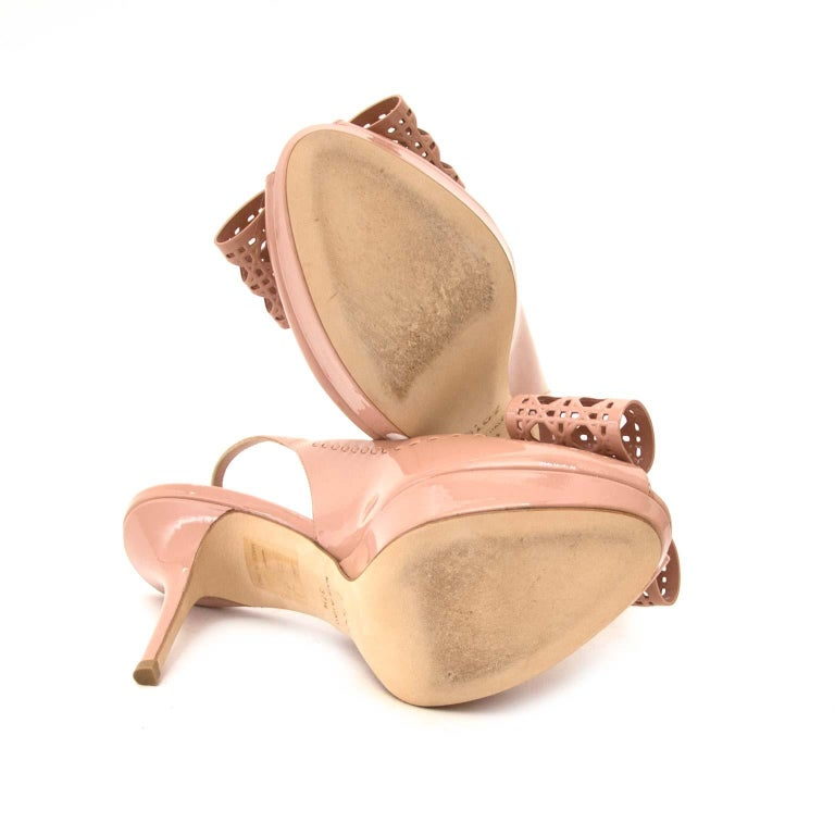 Brown Dior Patent Leather Butterfly Slingback Heeled Sandals - Size 37.5 For Sale