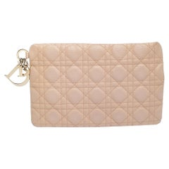 Dior Peach Cannage Coated Canvas Panarea Clutch