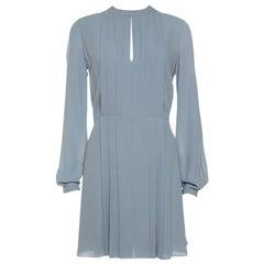 Dior Pearl Grey Silk Crepe Pleated Dress S