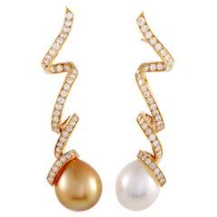 Dior Petit Caprice Yellow Gold Diamond and Pearl Dangle Push Back Earrings