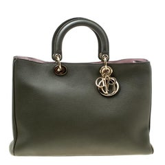Dior Pine Green Leather Large Diorissimo Shopper Tote