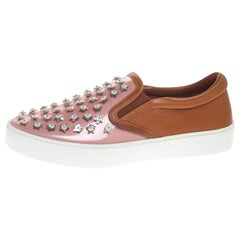 Dior Pink/Brown Leather And PVC Floral Embellished Slip On Sneaker Size 37.5