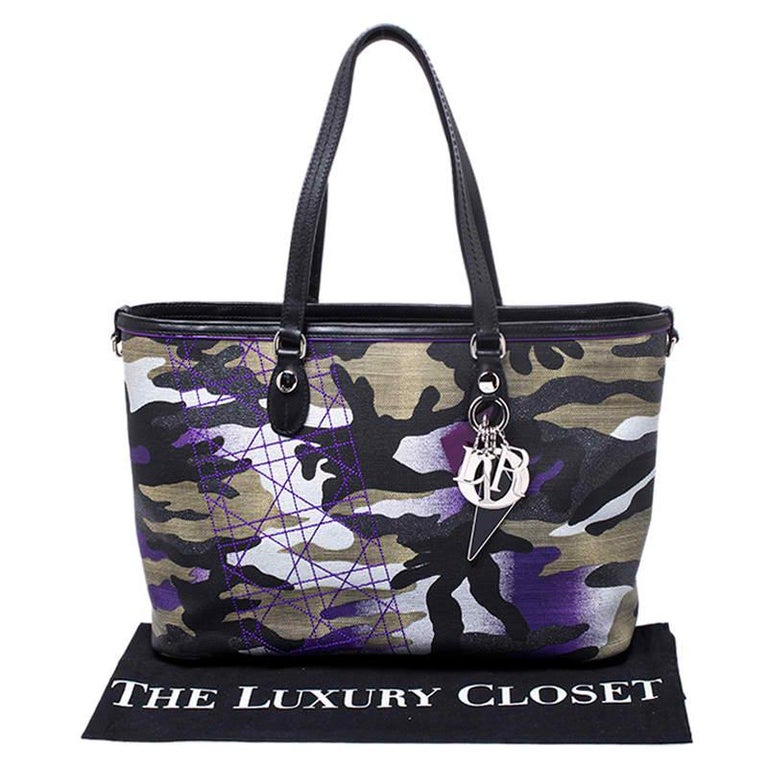 Dior Pink Camouflage Canvas and Leather Anselm Reyle For Dior Tote For Sale 9