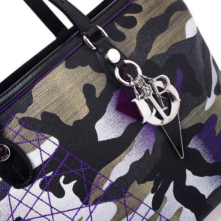 Dior Pink Camouflage Canvas and Leather Anselm Reyle For Dior Tote For Sale 1