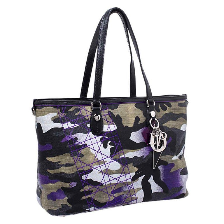 Dior Pink Camouflage Canvas and Leather Anselm Reyle For Dior Tote For Sale 5