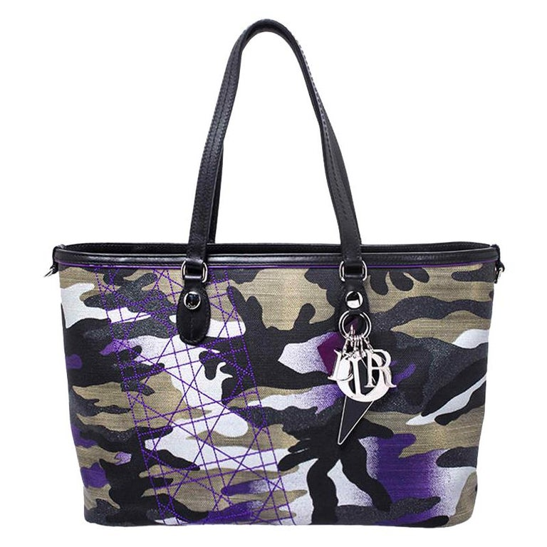 Dior Pink Camouflage Canvas and Leather Anselm Reyle For Dior Tote For Sale
