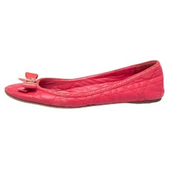 Dior Pink Cannage Leather Bow Flat Ballet Flats Size 39.5