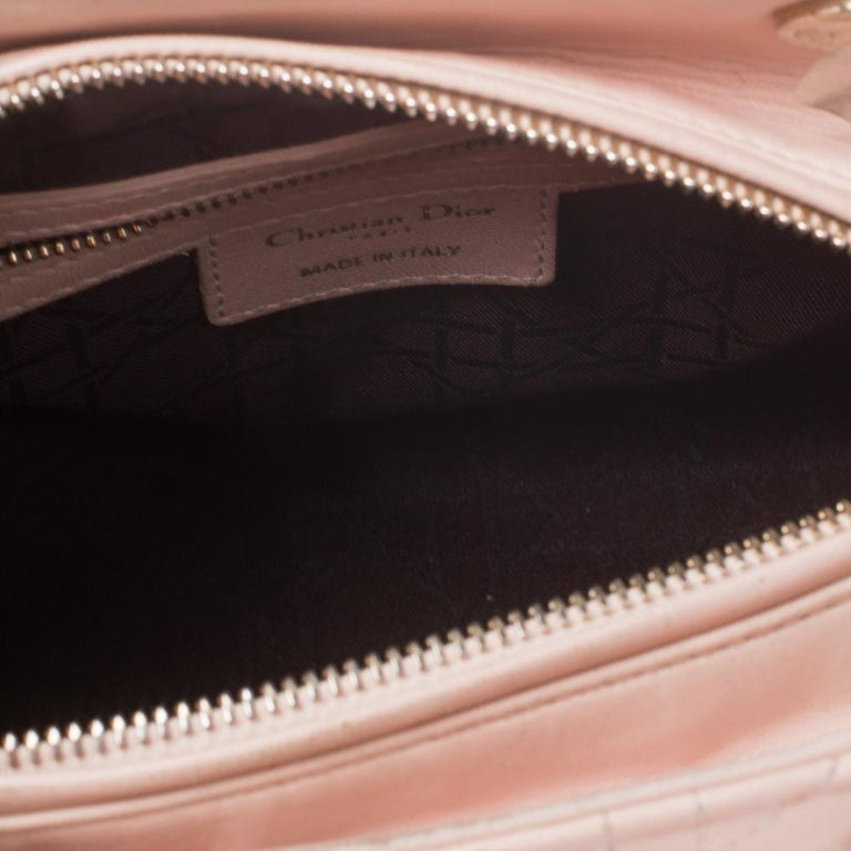 Dior Pink Cannage Leather Medium Lady Dior Tote For Sale 5