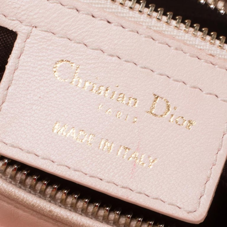 Dior Pink Cannage Leather Medium Lady Dior Tote For Sale 6