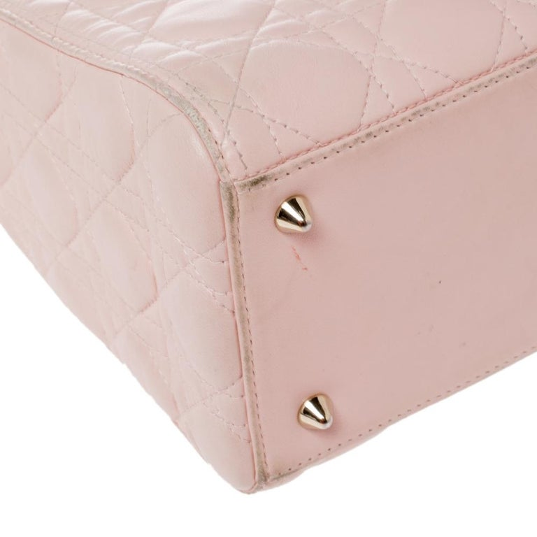 Dior Pink Cannage Leather Medium Lady Dior Tote In Good Condition For Sale In Dubai, Al Qouz 2