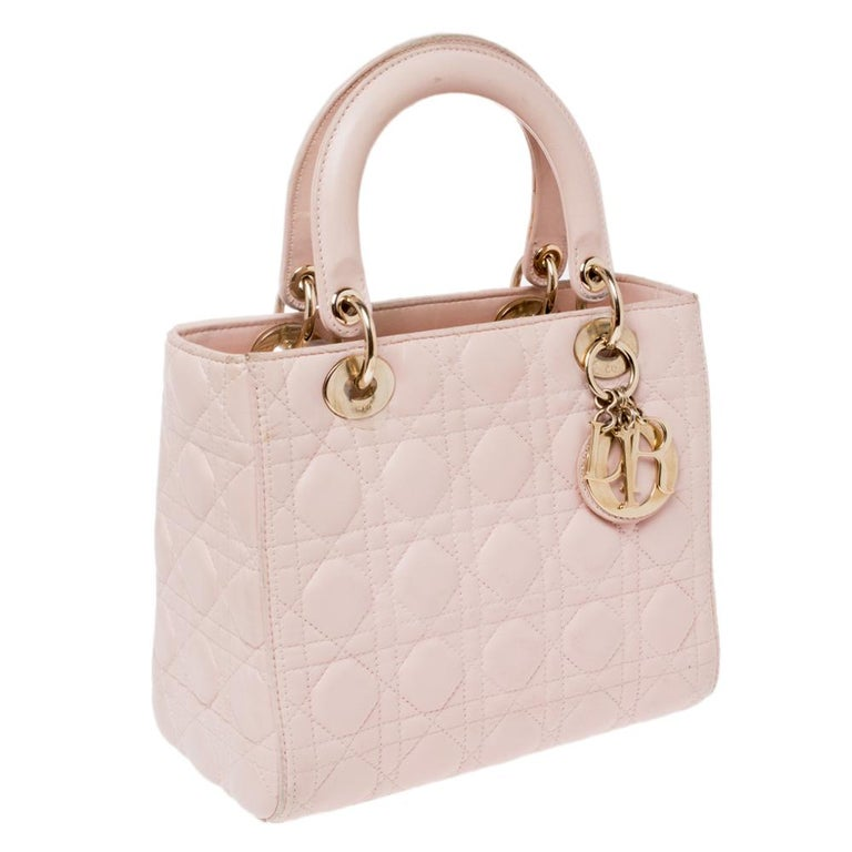 Dior Pink Cannage Leather Medium Lady Dior Tote For Sale 1