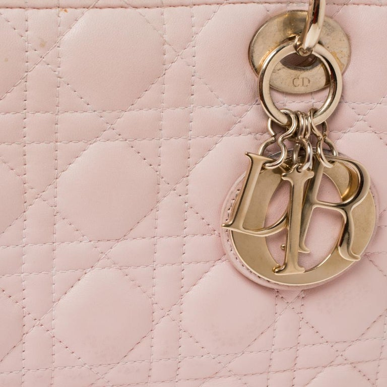 Dior Pink Cannage Leather Medium Lady Dior Tote For Sale 2