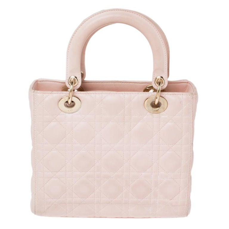 Dior Pink Cannage Leather Medium Lady Dior Tote For Sale 3