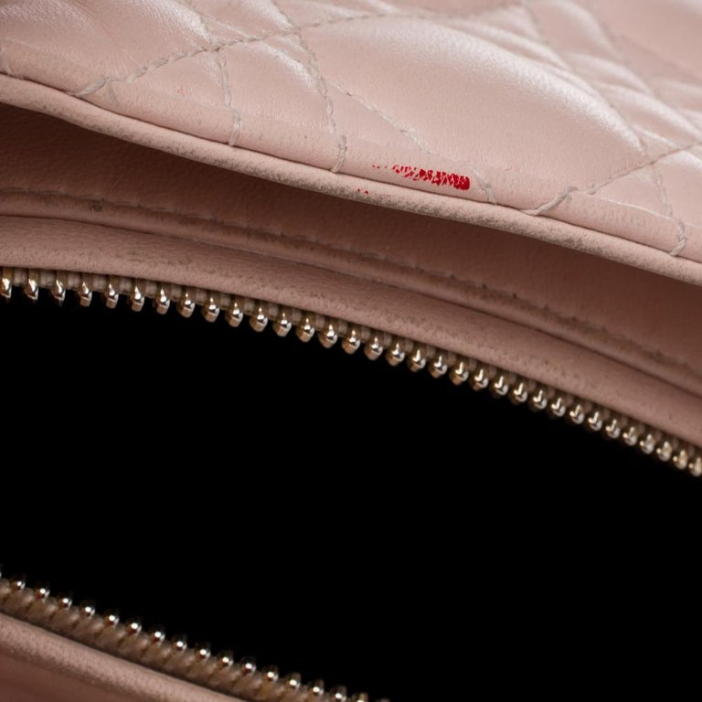 Dior Pink Cannage Leather Medium Lady Dior Tote For Sale 4