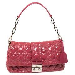 Dior Pink Cannage Patent Leather Medium New Lock Shoulder Bag