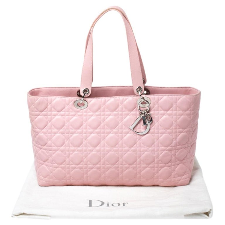 Dior Pink Cannage Quilted Leather Tote Bag For Sale 8