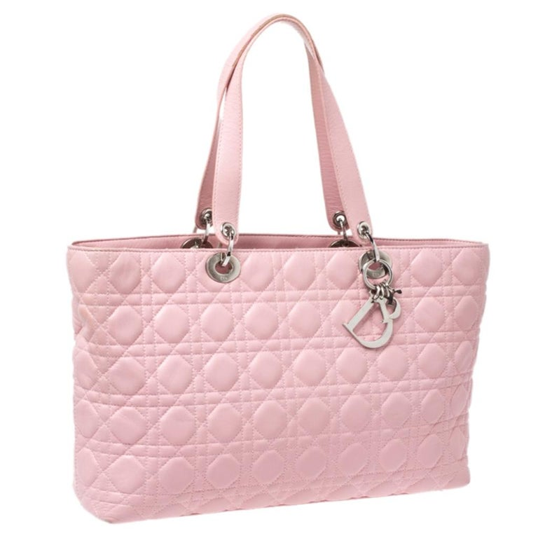 Women's Dior Pink Cannage Quilted Leather Tote Bag For Sale