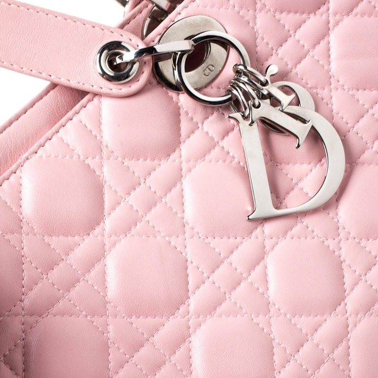 Dior Pink Cannage Quilted Leather Tote Bag For Sale 3