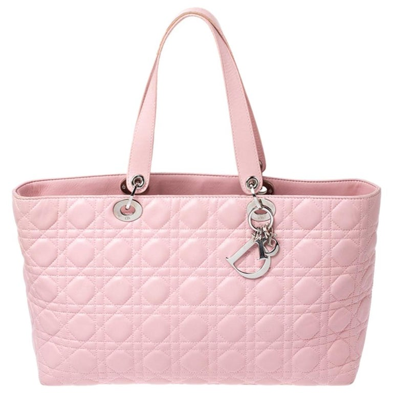 Dior Pink Cannage Quilted Leather Tote Bag For Sale