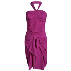Dior Pink Cotton Ruched Bow Detail Halter Dress S