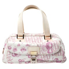 Dior Pink/Cream Floral Print Canvas and Patent Leather Satchel