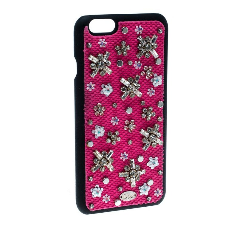 Dior Pink Crystal and Fabric Stardust Embellished IPhone 6 Case In Good Condition For Sale In Dubai, Al Qouz 2