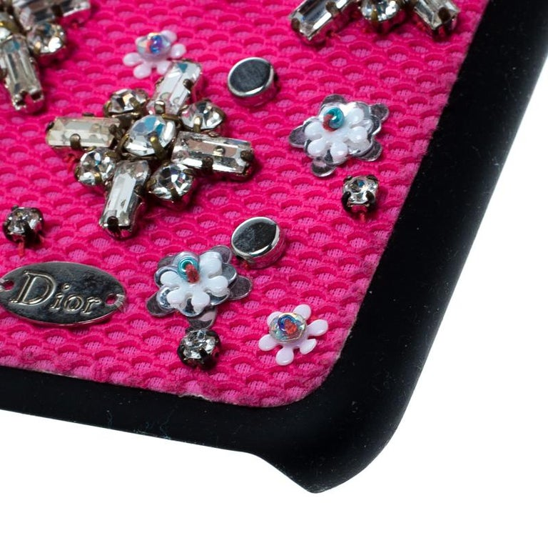 Dior Pink Crystal and Fabric Stardust Embellished IPhone 6 Case For Sale 1