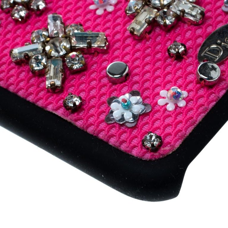 Dior Pink Crystal and Fabric Stardust Embellished IPhone 6 Case For Sale 3